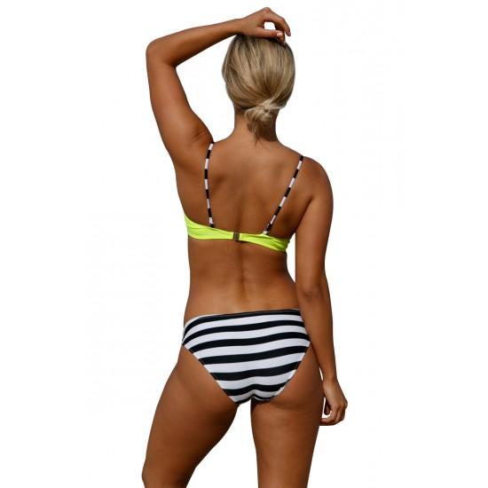 Womens Triangle Bikini Set Swimsuit Yellow Black Stripe