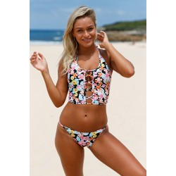 Womens Floral Lace Up Crop Top Bikini Swimsuit
