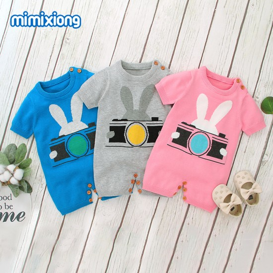 100% Cotton Baby Knitted Short Sleeve Romper 82W376
