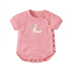 100% Cotton Baby Knitted Short Sleeve Romper 82W501