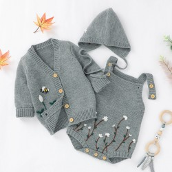 Mimixiong Baby Knitted Romper Coat Hat 3pc Clothing Set 82W639-641-642