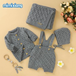 Mimixiong Baby Knitted Romper Coat Blanket Hat 4pcs Clothing Set 82W732-733-736-737