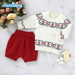 Mimixiong Baby Knitted Sweater Shorts 2pc Clothing Set 82W741