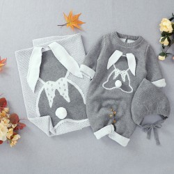 Mimixiong 100% Cotton Baby Knitted Romper Blanket Hat 3pcs Clothing Set 82W802-806