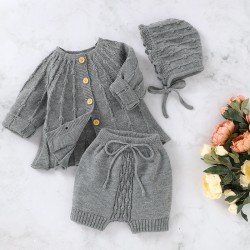 Mimixiong Baby Knitted Coat Shorts Hat 3pc Clothing Set 82W812-813-815