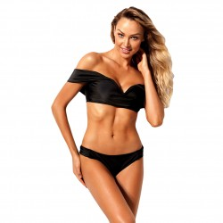 Womens Black Socialite Off Shoulder Bikini 2pcs Bathing Suit